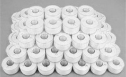 SORRY N L A  Prewound Bobbins 80, White, Clear-Glide FT13305